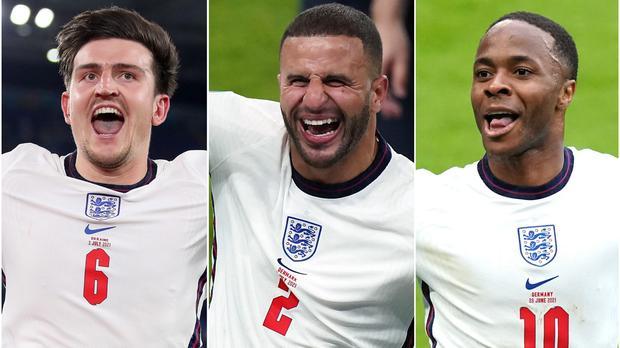 การแข่งขันยูโร 2020 ทั้งสามทีมชาติอังกฤษ ราฮีม สเตอร์ลิ่ง, ไคล์ วอล์คเกอร์ และแฮร์รี่ แม็คไกวร์ ในทีมของการแข่งขันยูฟ่า